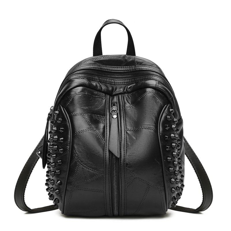 The New Type Women's Backpack Covered with Black Soft Leather - BLACK 25 X 17 X 27
