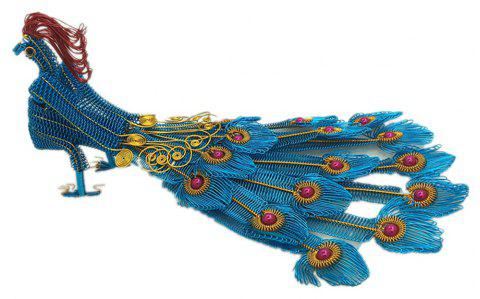 Creative Handicraft Peacock Fifteen-tailed Phoenix Model - GLACIAL BLUE ICE