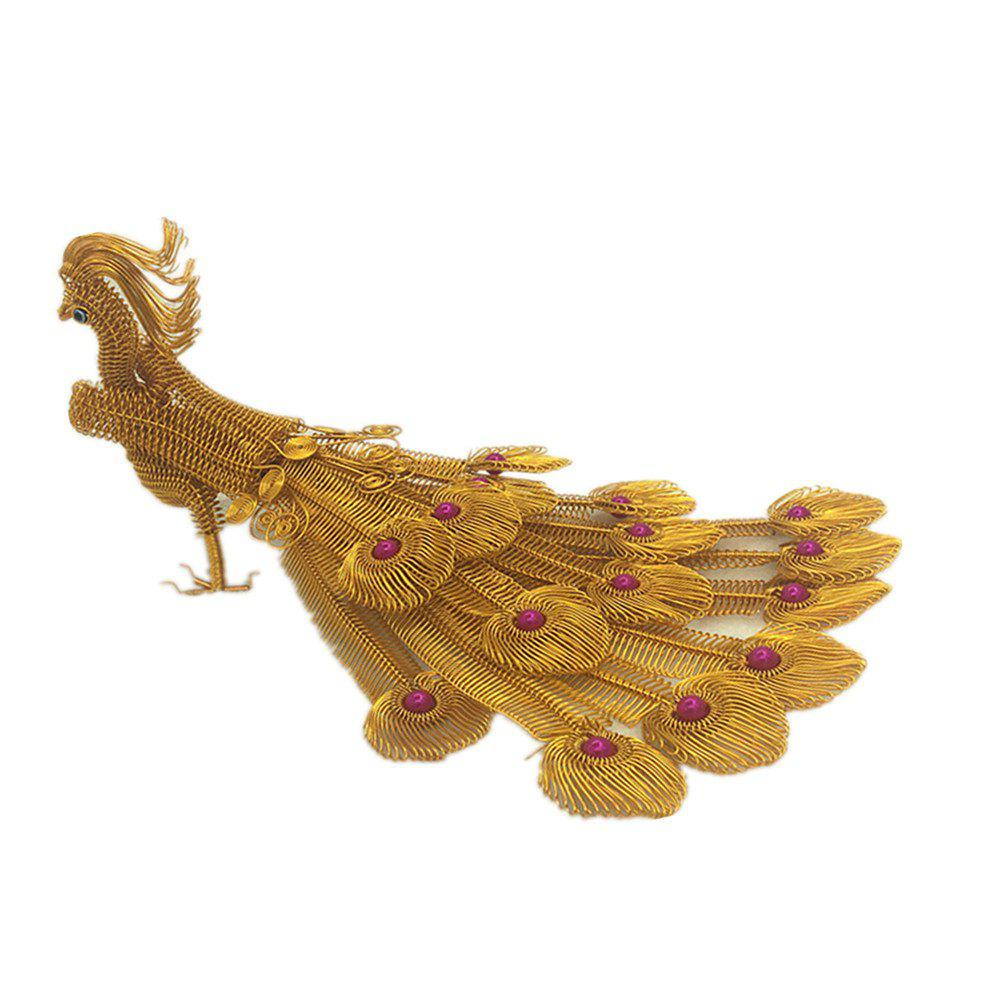 Creative Handicraft Peacock Fifteen-tailed Phoenix Model - GOLD