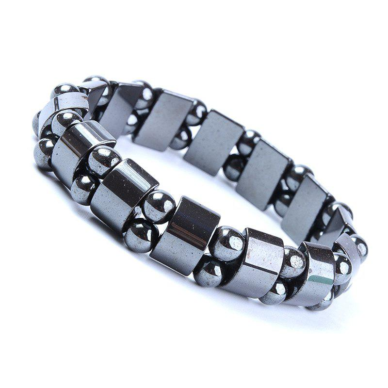 Fashion Personality Exaggerated Black Double Magnet Stone Bracelet Men Woman - BLACK