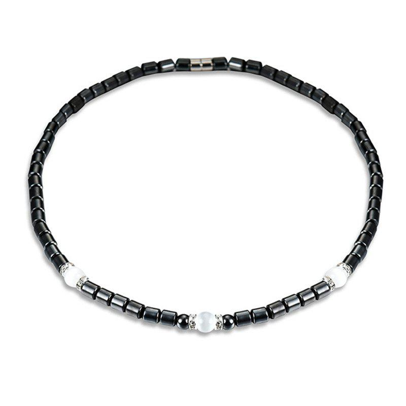 New Fashion Personality Unique Artificial Diamond Magnet Stone Necklace Woman - BLACK