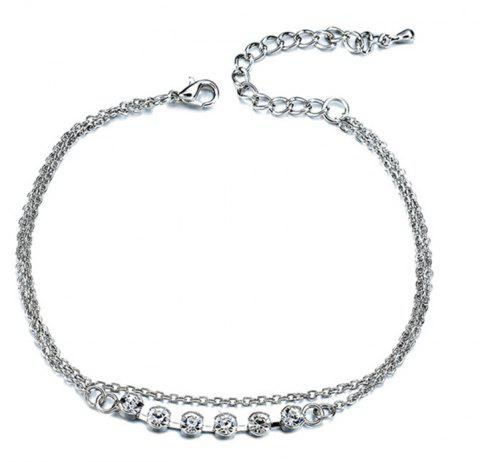 Fashion Minimalist Artificial Crystal Rhinestone Beach Anklet Woman - SILVER