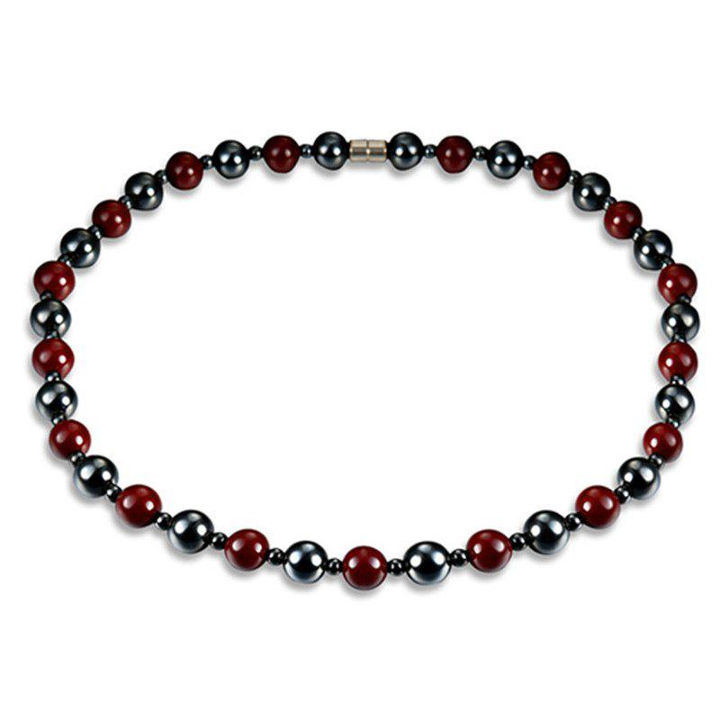 Fashion Minimalist Red Magnet Stone Necklace Woman - multicolor A