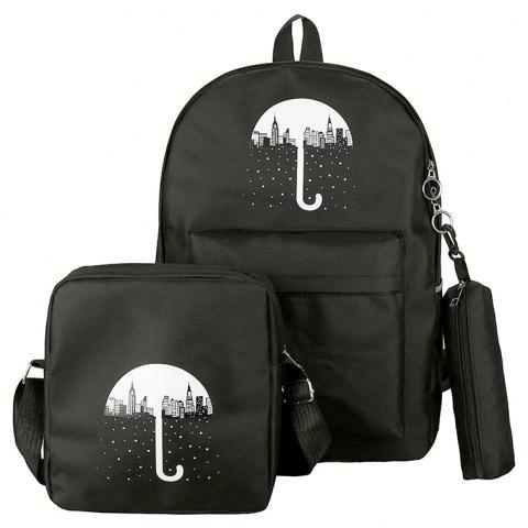 3Pcs Cartoon Design Student Bag - BLACK VERTICAL