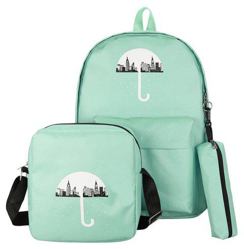 3Pcs Cartoon Design Student Bag - GREEN VERTICAL