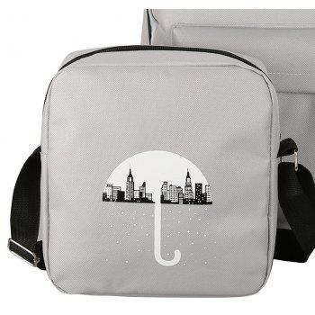 3Pcs Cartoon Design Student Bag - GRAY VERTICAL