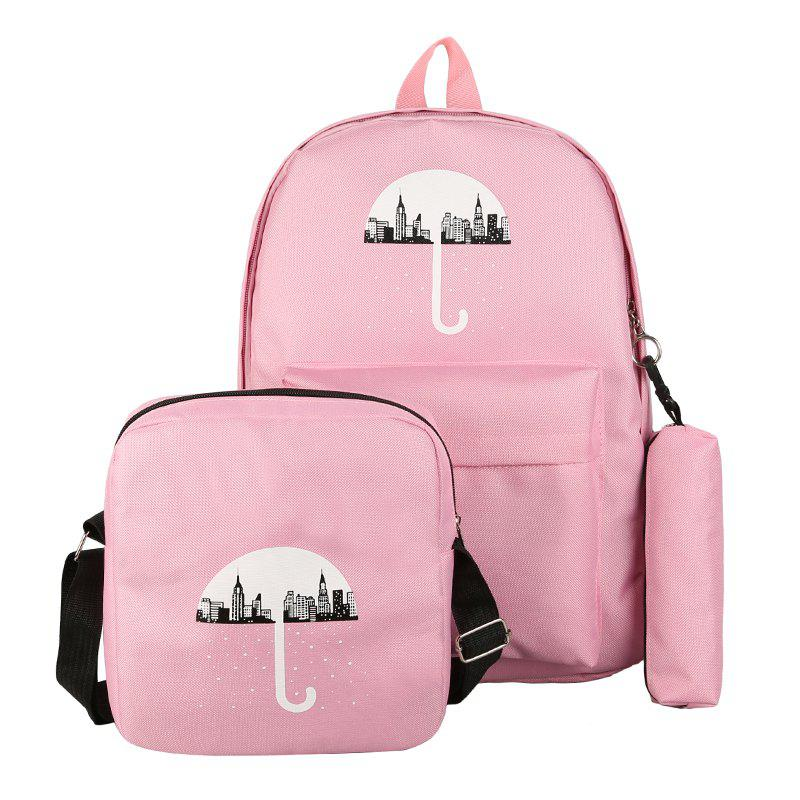 3Pcs Cartoon Design Student Bag - PINK VERTICAL