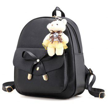 Girl / Women PU 4Pcs Backpack - BLACK VERTICAL