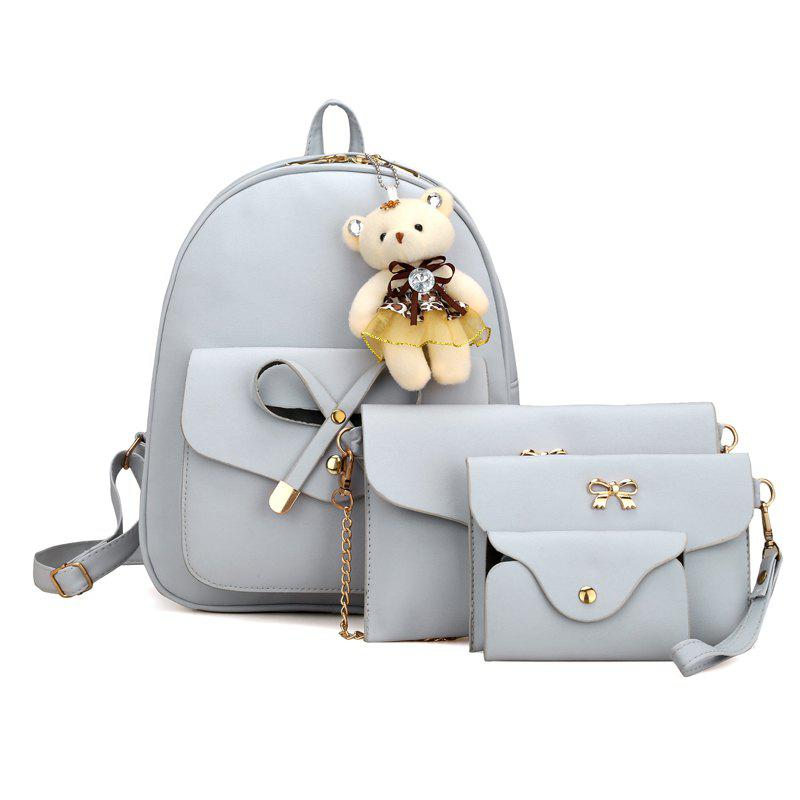 Girl / Women PU 4Pcs Backpack - GRAY VERTICAL