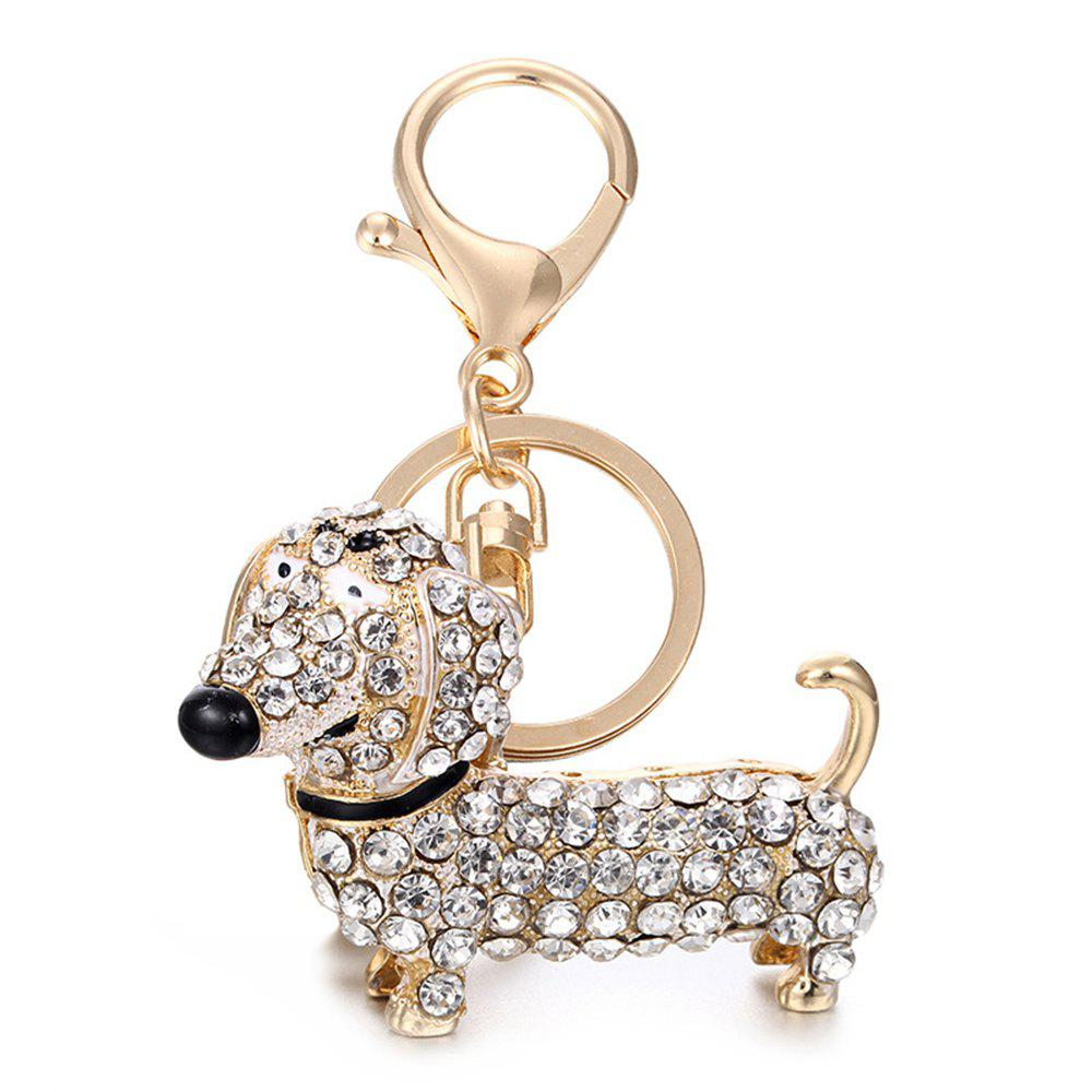 Alloy Diamond Cute Dachshund Dog Keychain - WHITE