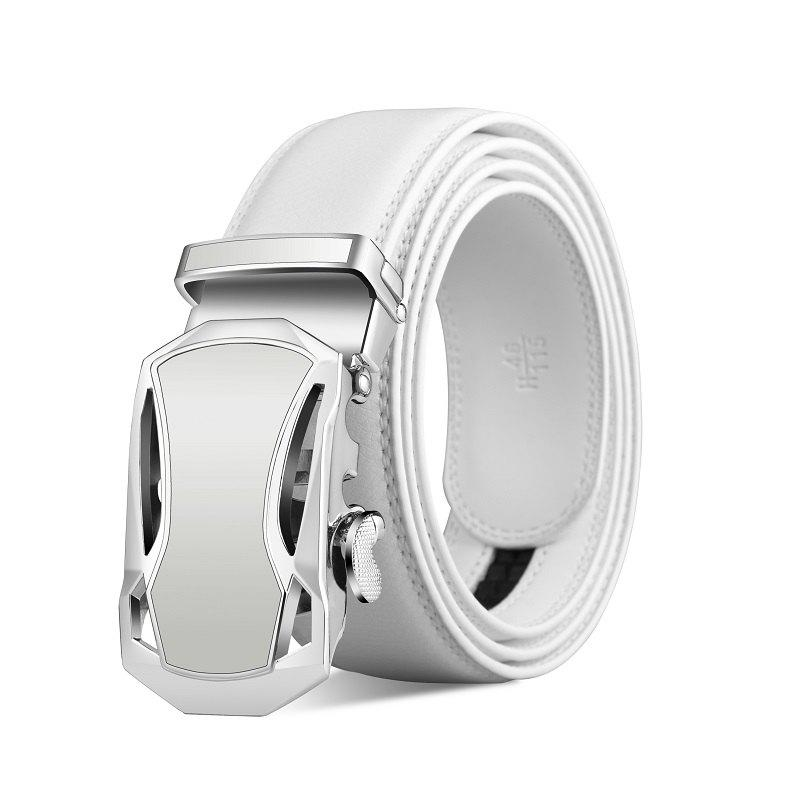 ZHAXIN 345 Car-shaped Metal Clasp Automatic Belt for Man - WHITE 115CM