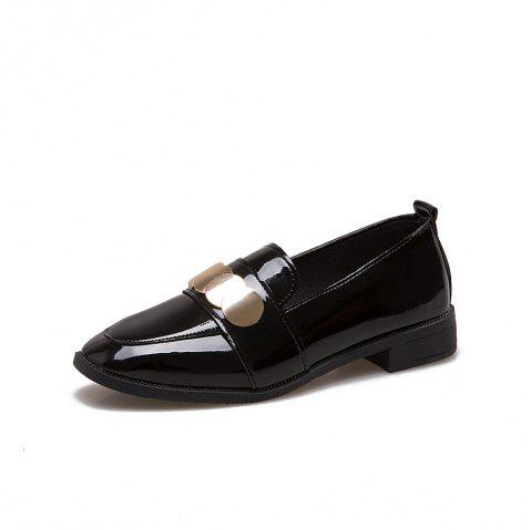 College Small Leather  Flat Women's Shoes - BLACK 35