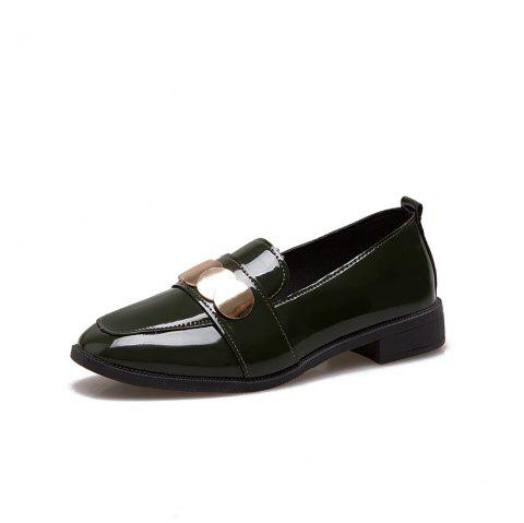 College Small Leather  Flat Women's Shoes - DARK FOREST GREEN 39