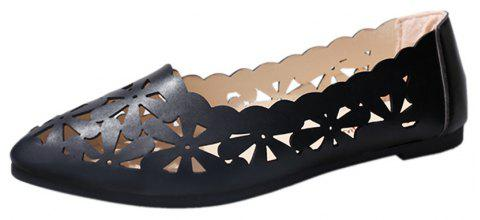 Hollow Out Flat  Pointed Head Shallow  Shoes - BLACK 37