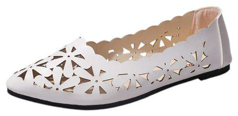 Hollow Out Flat  Pointed Head Shallow  Shoes - WHITE 37