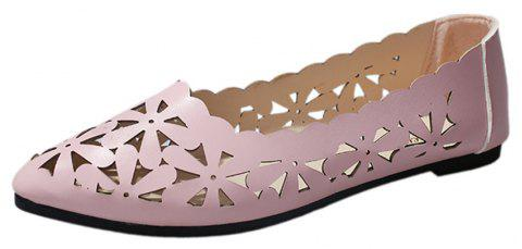 Hollow Out Flat  Pointed Head Shallow  Shoes - PINK 35