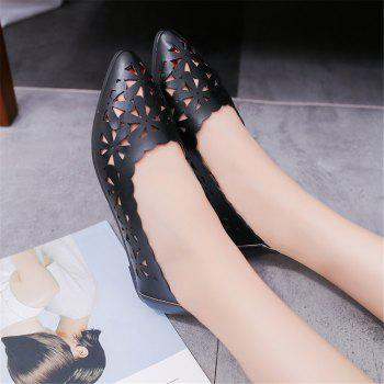Hollow Out Flat  Pointed Head Shallow  Shoes - BLACK 41
