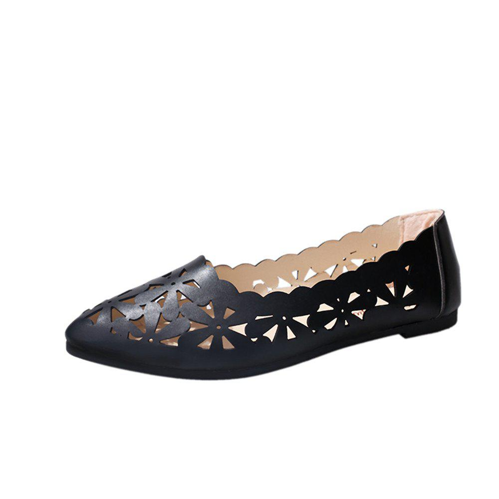 Hollow Out Flat  Pointed Head Shallow  Shoes - BLACK 38