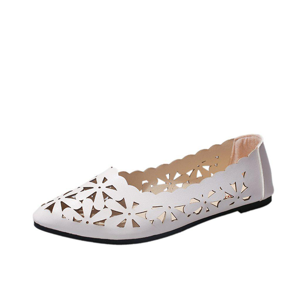 Hollow Out Flat  Pointed Head Shallow  Shoes - WHITE 39
