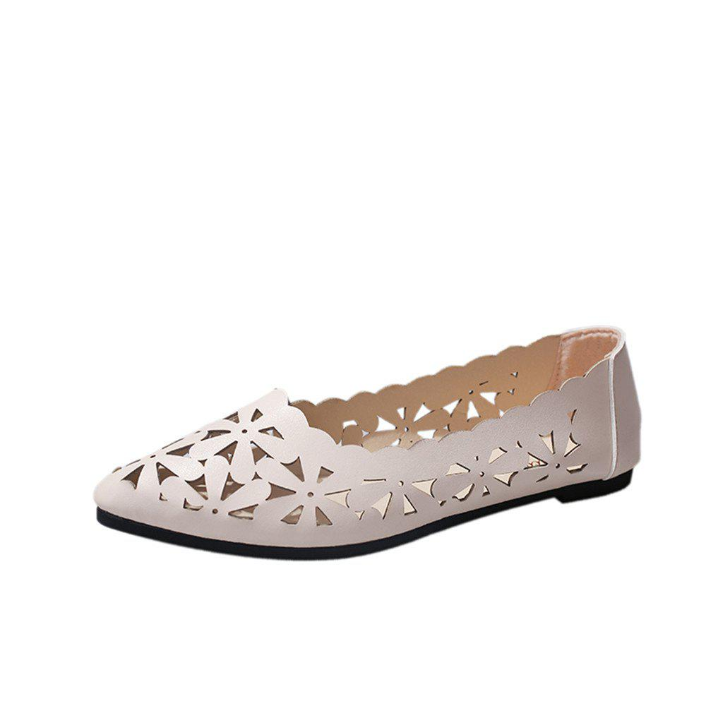 Hollow Out Flat  Pointed Head Shallow  Shoes - APRICOT 37