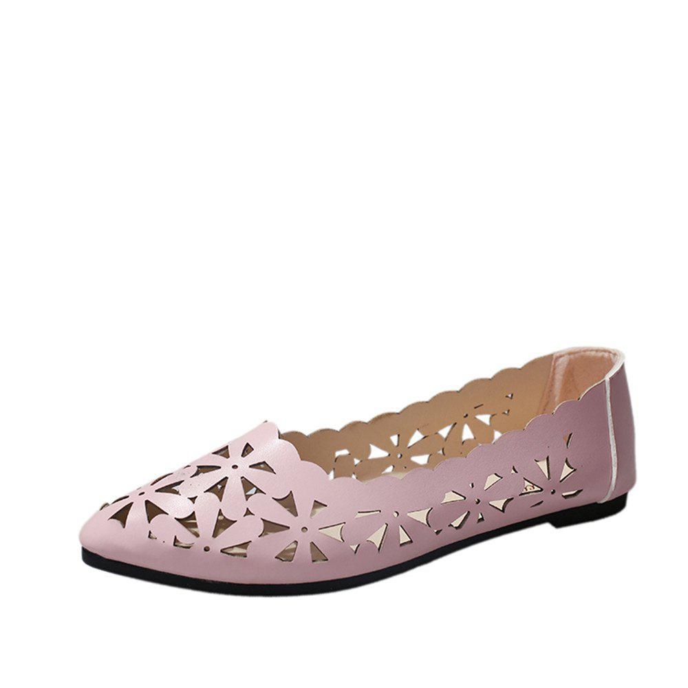 Hollow Out Flat  Pointed Head Shallow  Shoes - PINK 40