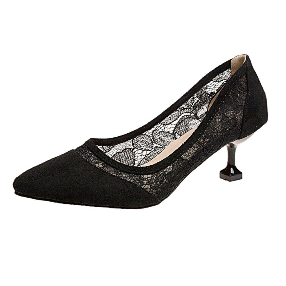 Lace  Gauze Shallow  Point  Women's Shoes - BLACK 39