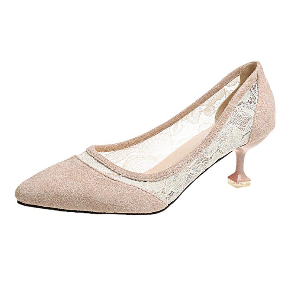Lace Gauze Shallow Point Women's Shoes - APRICOT 36
