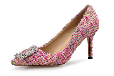 VICONE Elegant Tweed Rhinestone Shoes - PINK ROSE 35