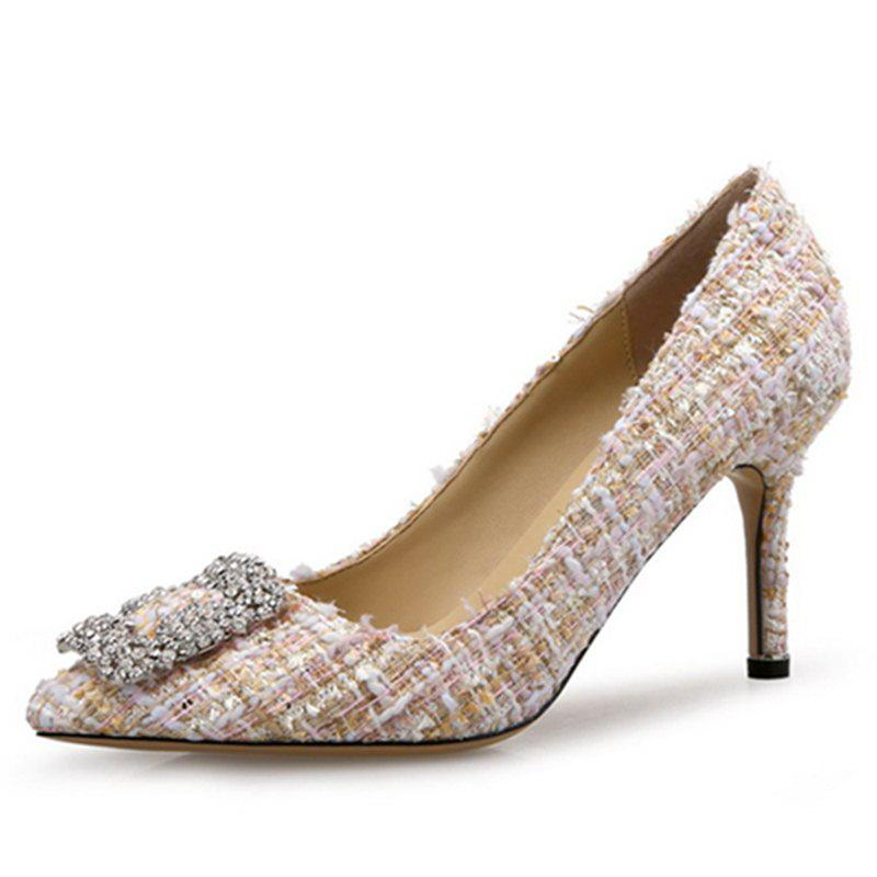 VICONE Elegant Tweed Rhinestone Shoes - BLANCHED ALMOND 38