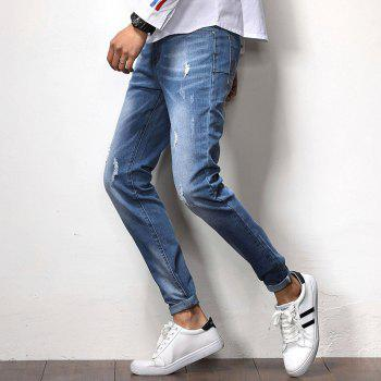 New Spring Men's Casual Jeans - SILK BLUE 36