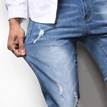 New Spring Men's Casual Jeans - SILK BLUE 38