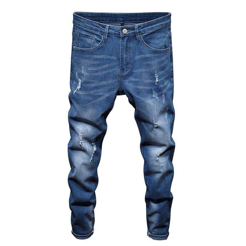 New Spring Men's Casual Jeans - SILK BLUE 34