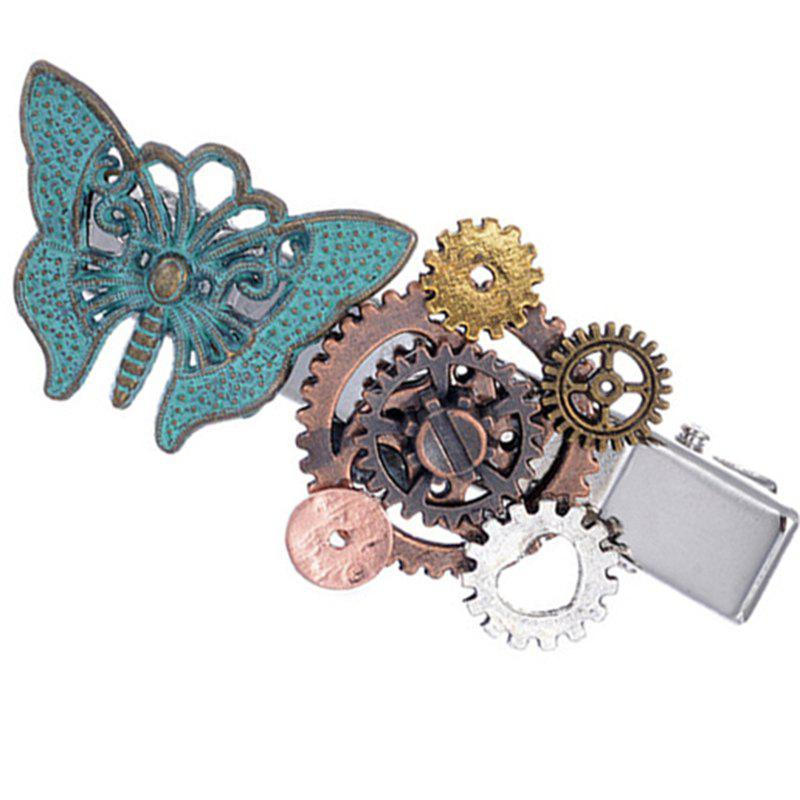 Single Jewelry Steampunk Gear Duckbill Clip Hairpin - MACAW BLUE GREEN