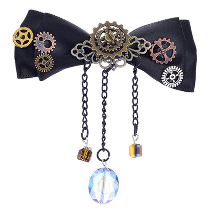 Europe and The United States Popular Steampunk Fabric Bow Gear Duckbill Clip - multicolor
