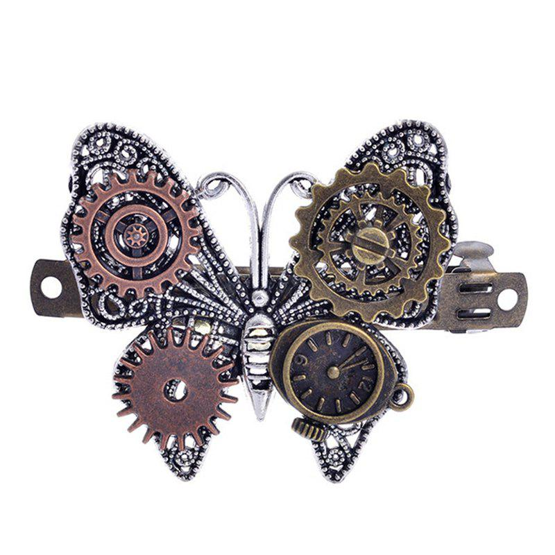 European and American Fashion Jewelry Steampunk Gear Alloy Butterfly Hair Clips - multicolor
