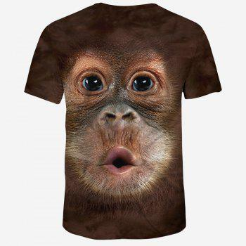 New Fashion Ape Head 3D Printed Men's Short Sleeve T-shirt - COFFEE M
