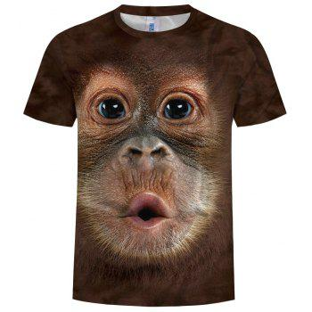 New Fashion Ape Head 3D Printed Men's Short Sleeve T-shirt - COFFEE L