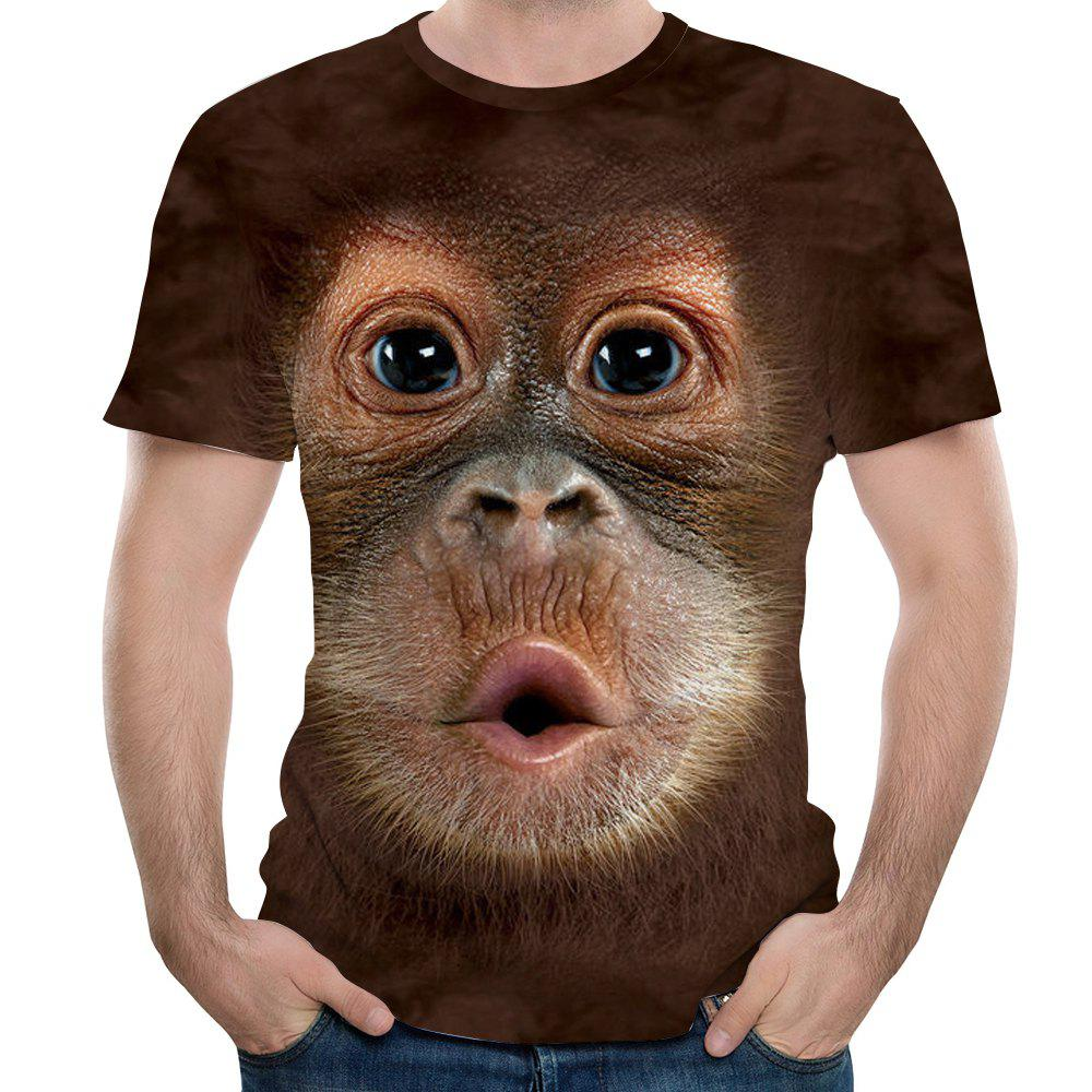 New Fashion Ape Head 3D Printed Men's Short Sleeve T-shirt - COFFEE 3XL
