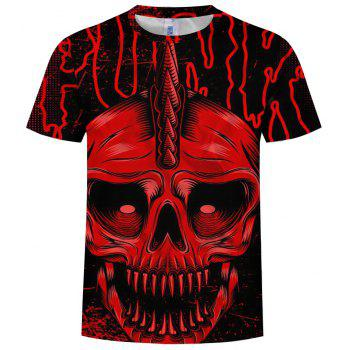 New Summer Casual 3D Men's Short Sleeve T-shirt - CHERRY RED 3XL