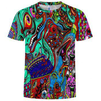 New Fashion Multi-Color 3D Printed Men's Short Sleeve T-shirt - multicolor L