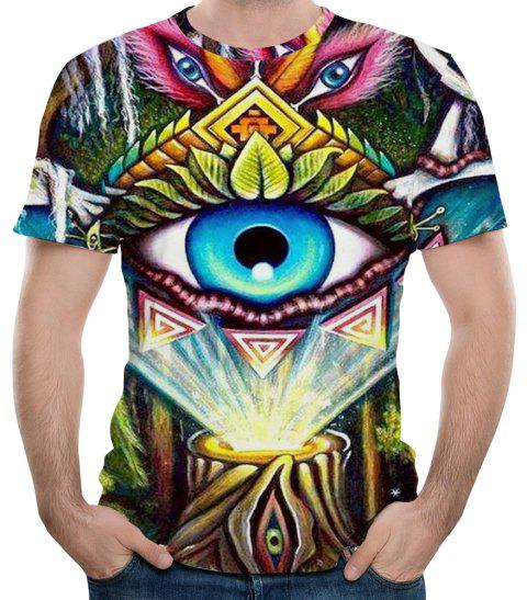 2018 New Fashion Multi-Eye 3D Printed Men's Short Sleeve T-shirt - multicolor S