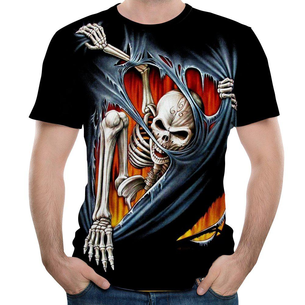 2018 Casual Fashion Skull Head 3D Printed Men's Short Sleeve T-shirt mens casual 3d personality skull printing short sleeve t shirt cotton sport black tees