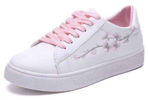 2018 New Students All-match Flat Casual Embroidery Flower White Shoes - PINK 39