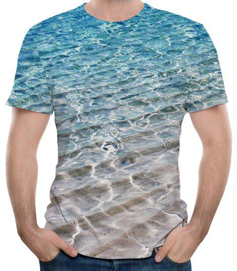 2018 New 3D Printing Summer Trend Men's Short-Sleeved T-shirt - LIGHT SKY BLUE L