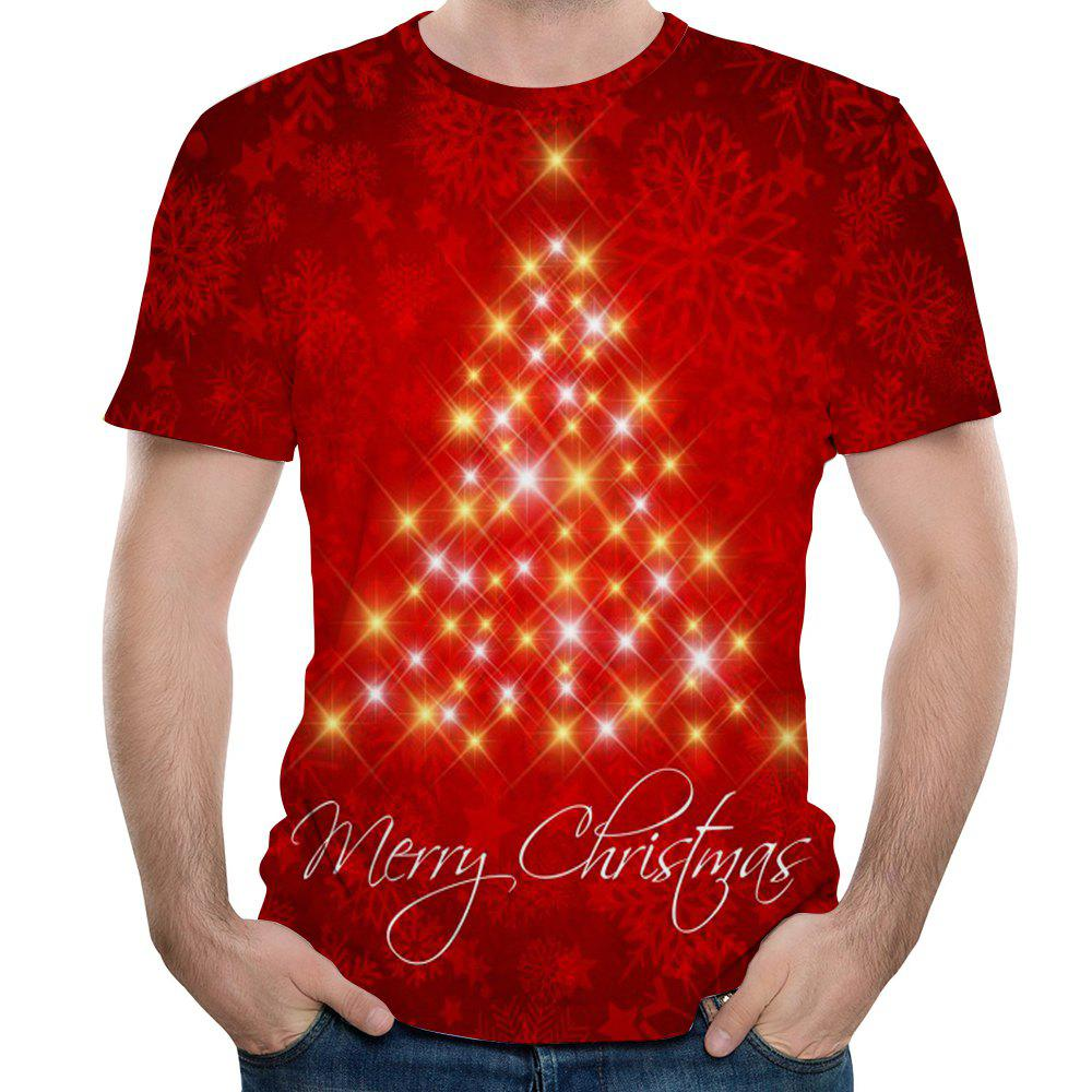 New 3D Printing Starlight Men's Short Sleeve T-shirt - VALENTINE RED M