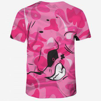 2018 New 3D Printing Summer Casual Breathable Men's Short-Sleeved T-shirt - DEEP PINK 2XL