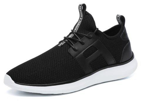 Breathable Casual Fly-Woven Sports Men Shoes - BLACK 43