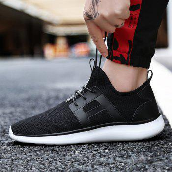 Breathable Casual Fly-Woven Sports Men Shoes - BLACK 42