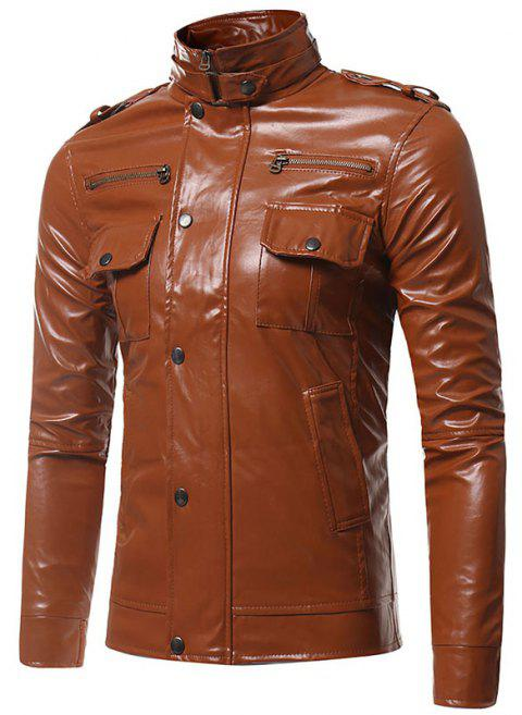 Epaulet Pockets Multiple Zippers Collar Locomotive Leather Jacket - BROWN 2XL