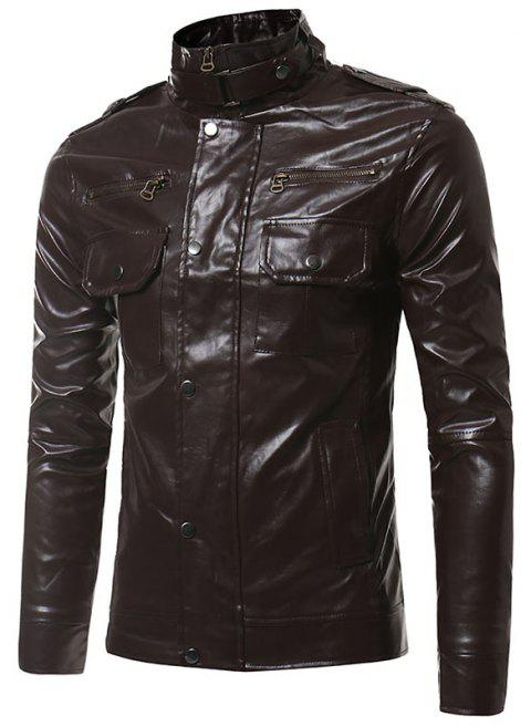 Epaulet Pockets Multiple Zippers Collar Locomotive Leather Jacket - PUCE 2XL
